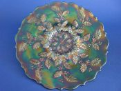 Rare Fenton 'Holly' Green Carnival Glass Plate